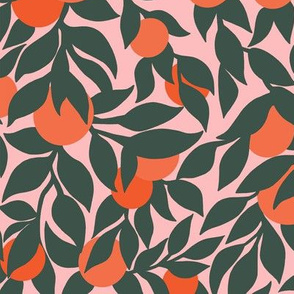 Oranges and Leaves in Pink