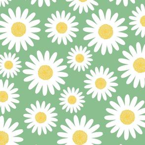 Retro 70s jumbo daisies blossoms on sage green Wallpaper Fabric