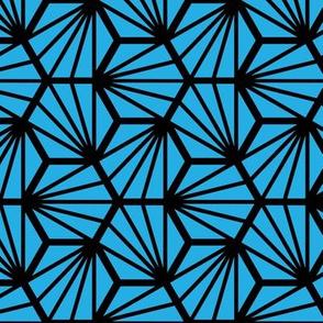 Geometric Pattern: Hexagon Ray: Blue Black