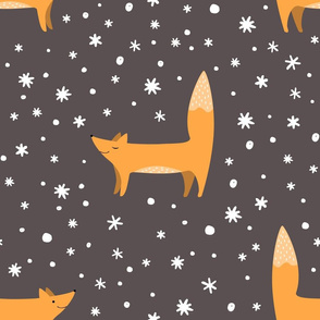 Foxes and doodle snowflakes
