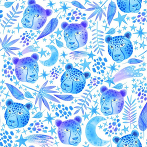 Blue Cosmic Cheetahs in a Midnight Jungle