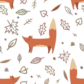 Foxes and autumn leaves.