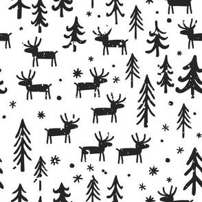 Cartoon deer, trees, and snowflakes