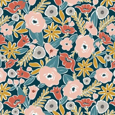Finley - Boho Girl Floral Dark Teal Small Scale Floral