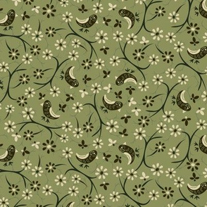 Little  Birds on twigs: Retro,  dark  green, cream, camo, sweet, small quilt ditsy