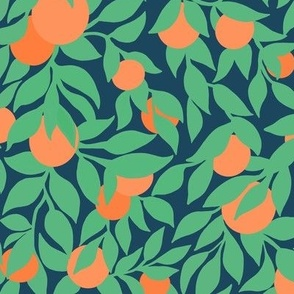 oranges and leaves on navy