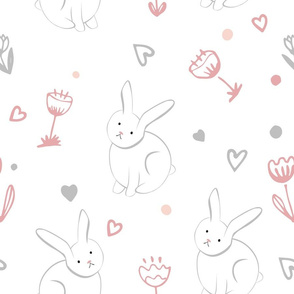 Sweet bunny with spring flowers