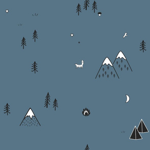 Camping tents, fire, trees, and mountains