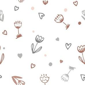 Cartoon flowers and hearts