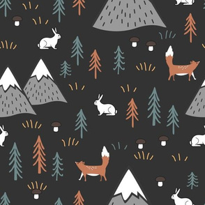 Hares, foxes trees, mushrooms, and mountains