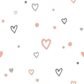Сute romantic seamless pattern with doodle cartoon hearts