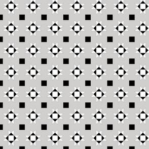 mini 2 inch quilt stars black and white