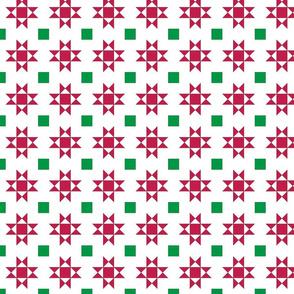 mini 2 inch quilt stars christmas red stars