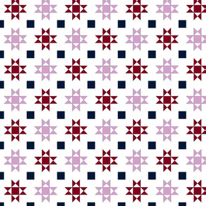 mini 2 inch quilt stars orchid and navy limited palette
