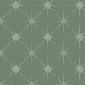 Meso Sunburst Tile: Powdery Green Mesoamerican Art Deco, Geometric, Jazz Age