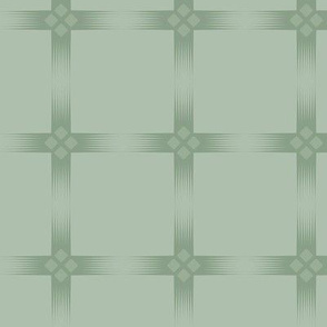 Meso Panes: Powdery Green Windowpane Check, Art Deco Geometric, Jazz Age