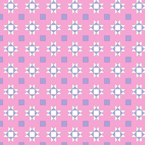 mini 2 inch quilt stars pink and lavender