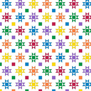 mini 2 inch quilt stars primary bright