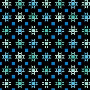 mini 2 inch quilt stars sea colors on black