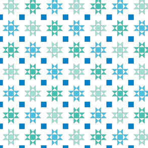 mini 2 inch quilt stars sea colors on white