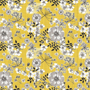 Wild Rose Yellow and Grey mud cloth texture