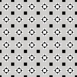 mini 1 inch quilt stars black and white