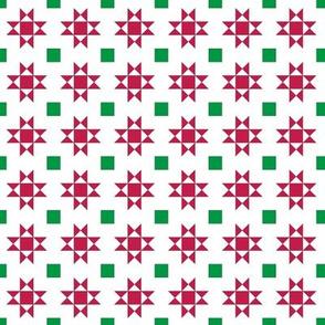 mini 1 inch quilt stars christmas red stars