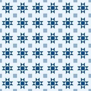 mini 1 inch quilt stars classic blue limited palette