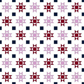 mini 1 inch quilt stars orchid and navy limited palette