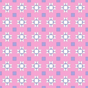mini 1 inch quilt stars pink and lavender