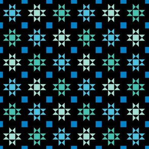 mini 1 inch quilt stars sea colors on black