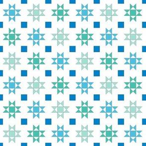 mini 1 inch quilt stars sea colors on white