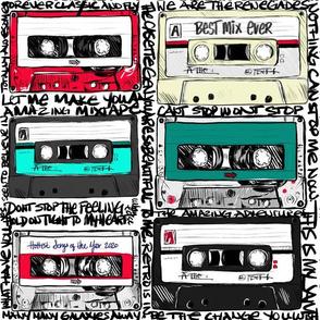 Retro cassettes with graffiti on white