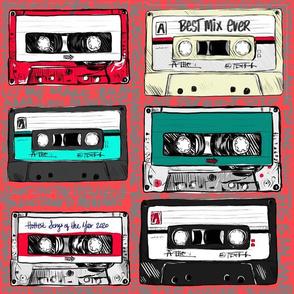 Retro cassette tapes on punk