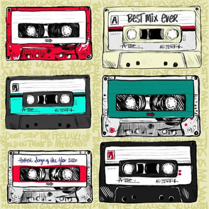 Retro cassette tapes with graffiti on lime