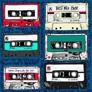 Retro cassette tapes on navy