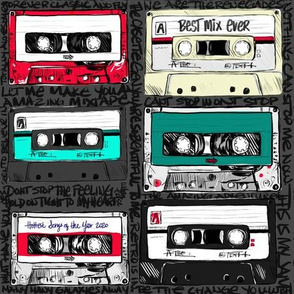 Cassette tapes with graffiti on black