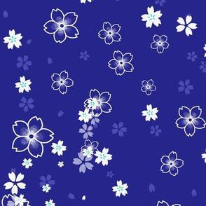 Deep blue Sakura snow