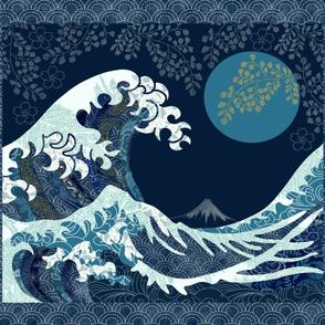 Wave Quilt with Sashiko Border 54x48