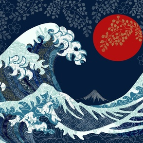 The Wave quilt with red moon