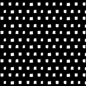 squares white on black doodled ink