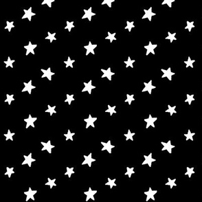 stars white on black doodled ink