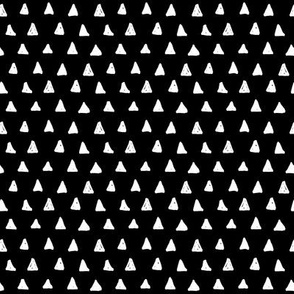 triangles white on black doodled ink
