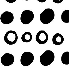 dotty XL black and white doodled ink 500% scale