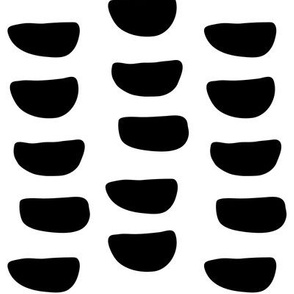 JUMBO half moons black and white doodled ink 500% scale