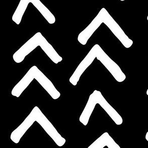 JUMBO arrowheads white on black doodled ink 500% scale