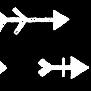 JUMBO arrows white on black doodled ink 500% scale