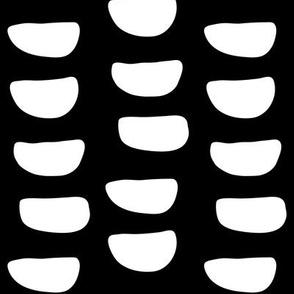 JUMBO half moons white on black doodled ink 500% scale