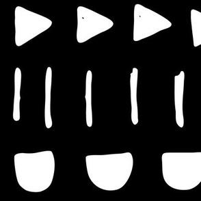 JUMBO mudcloth mix white on black doodled ink 500% scale