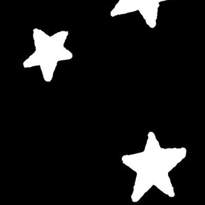 JUMBO stars white on black doodled ink 500% scale